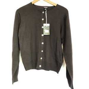 S&B sz s Brown cardigan wool acrylic blend java
